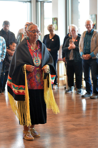 Matthew Gaston   The Sheridan Press<br>Mary Jane Goggles preforms a traditional Native American dance for patron of the Brinton Museum Saturday, Sept. 29, 2018.