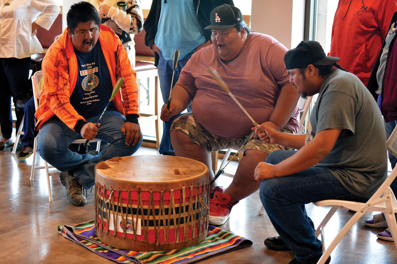Matthew Gaston   The Sheridan Press<br>From left, Jermey Hiwalker, Gregory Calfbossribs and Brice Lonewolf are the Pound Town drummers from Birney, MT. Pound  Town provided the soundtrack for Native American Heritage Day at the Brinton Museum Saturday, Sept. 29, 2018.