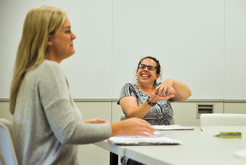 Ryan Patterson   The Sheridan Press<br /> Student Jennifer Defoe, right, signs to instructor Amber Townsend during an American Sign Language 3 class at the Sheridan College Mars Agriculture Center Thursday, Oct. 18, 2018.