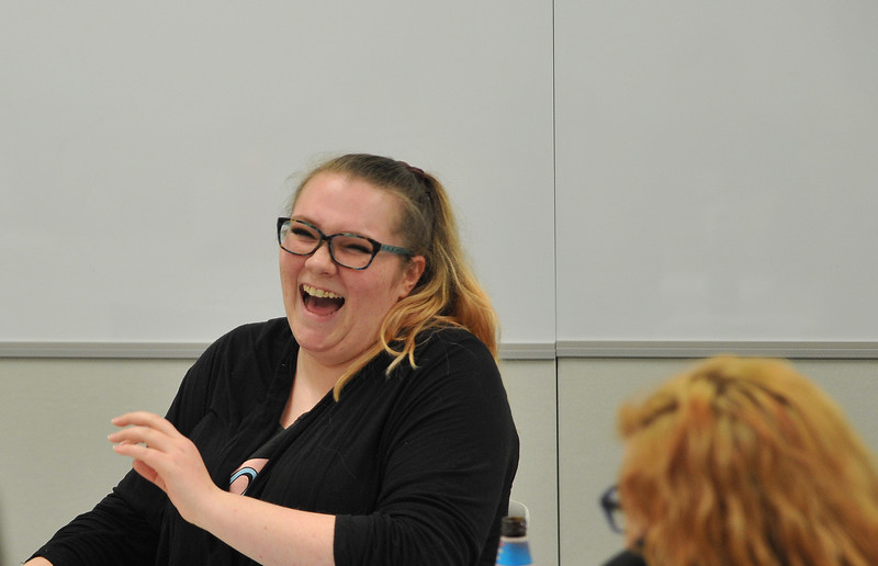 Ryan Patterson | The Sheridan Press<br /> Student Ashlee Townsend laughs during an American Sign Language 3 class at the Sheridan College Mars Agriculture Center Thursday, Oct. 18, 2018. The classes bring together a wide array of people of different ages and backgrounds.