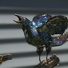 "Grackle. 12""h x 10""w x 9""d; raku. (Sold)."