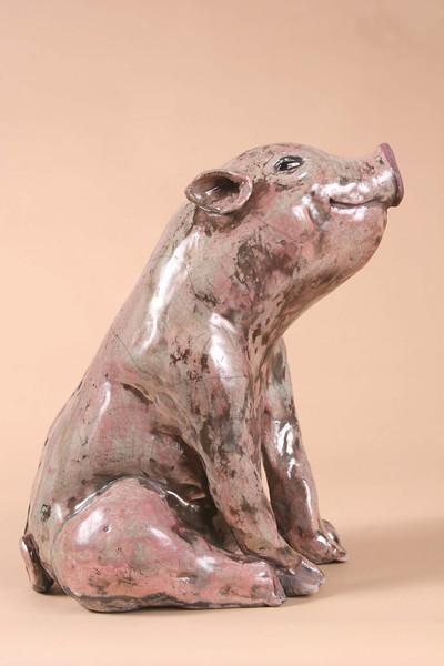 "Madeleine's Pig.  15""h x 9""w x 9""d; raku. (Sold)."
