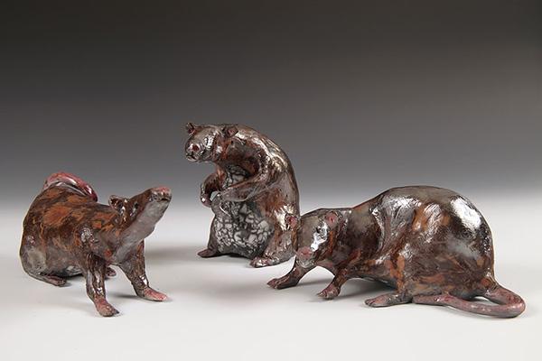 Rat Trio #2.  Raku.  (Sold).