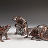 Rat Trio #2.  Raku.  (Sold).