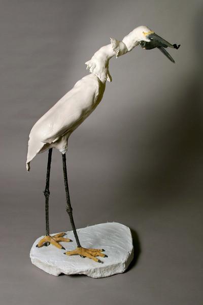 """Snowy Egret. 40""""h x 29""""w x17""""d; porcelain paperclay. $1000."""