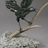 "Grackle. 14""h x 21""w x12""d; paperclay with wood, metal, concrete."