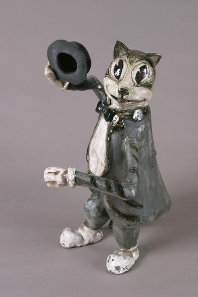 "1930's Cartoon TyTy. 19""h x 13""w x14""d; raku."