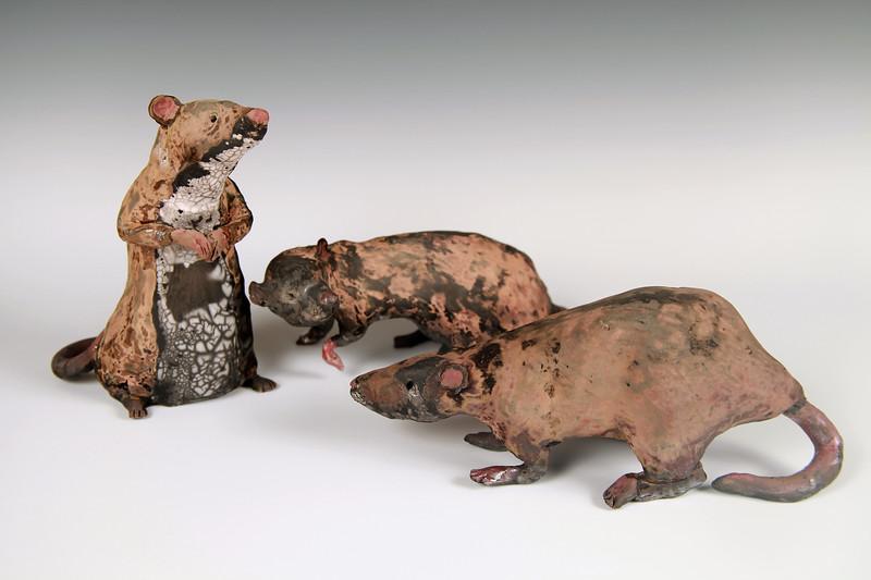 Camo Rats.  Raku.  (Sold).