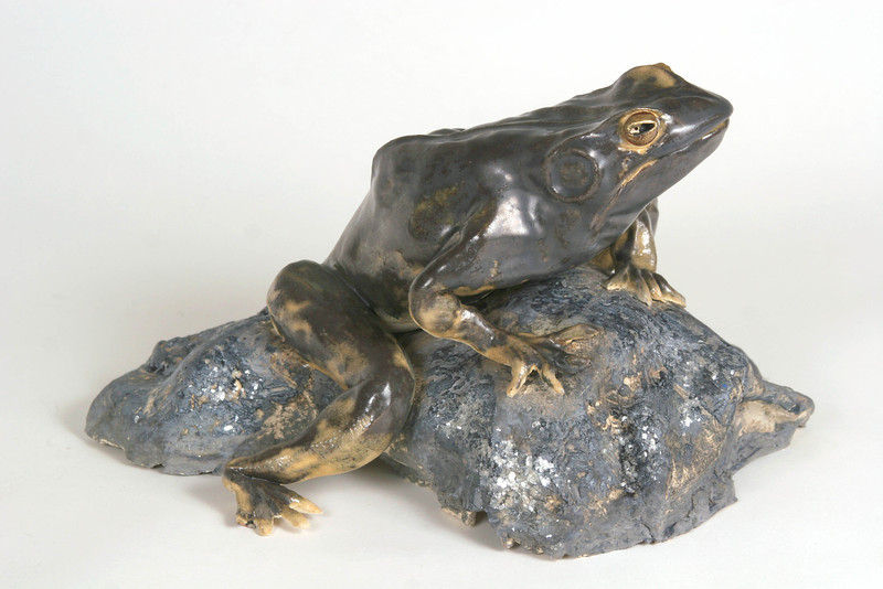 "Bullfrog.  Paperclay, 9""h x 12""w x 12""d. (Sold)"