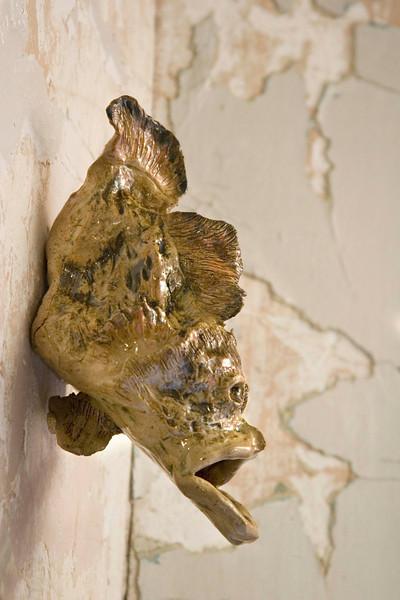 "Fish Gargoyle. 10""h x 5""w x 4""d; stoneware. (Sold)"