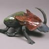 """Rainbow Dung Beetle.  12""""h x8""""w x9"""" d; raku. (NFS)"""