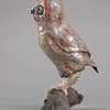 "Saw-whet Owl.  13""h x 12""w x9""d; raku. (Sold)."