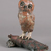 "Saw-whet Owl.  13""h x 12""w x9""d; raku. (Sold)"