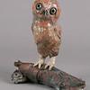 "Saw-whet Owl.  13""h x 12""w x9""d; raku."