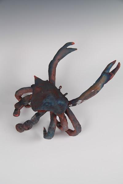 "Blue Crab.  Raku. 5"" x 10"" x 11"".  (Sold)."