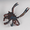 "Blue Crab.  Raku. 5"" x 10"" x 11"".  (Sold)."