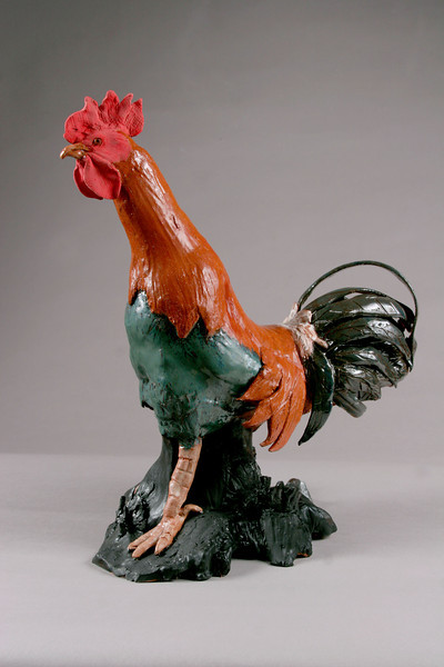"Pierrot's Rooster. 18""h x10""w x15""d; low-fire red clay. (Sold)."