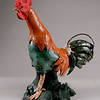 "Pierrot's Rooster. 18""h x10""w x15""d; low-fire red clay."