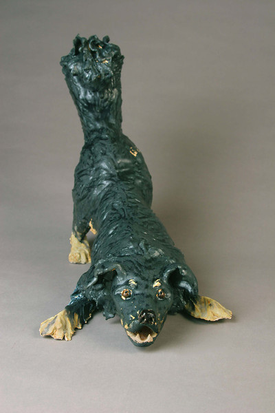 "Dana Downward Dog.  12""h x 9""w x19""d; paperclay. (NFS)"