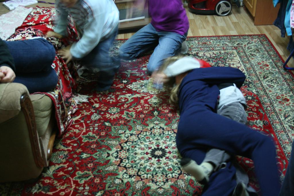 Lauren wrestling with Darri.