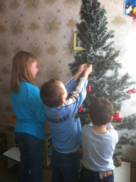 Christmas tree decorating at Nicolae and Natalie's house.