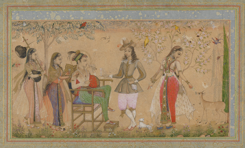 Prince seated in a garden with ladies