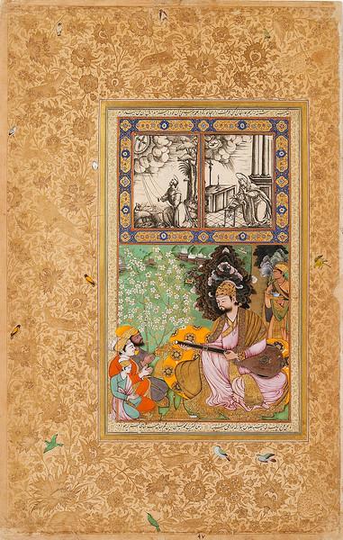 Sultan Ibrahim Adil Shah II playing the tambur; Sultan Ibrahim Adil Shah playing the tambur