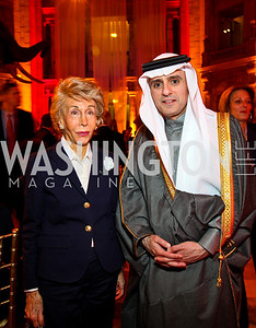 Ina Ginsburg, Saudi Arabia Amb. Adel A. Al-Jubeir. Arabia 3D Screening. Photo by Tony Powell. Museum of Natural History. March 1, 2011