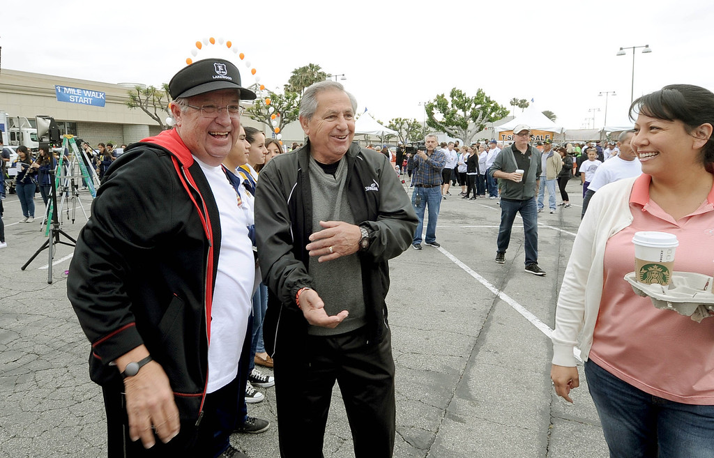 . Los Angeles County Supervisor Don Knabe, left, enjoys the crowd at the Arc Walk for Independence at the Stonewood Center in Downey, CA. on Saturday March 22, 2014. (Photo by Sean Hiller/ Daily Breeze).