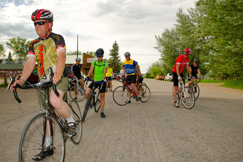 Dave Haile, left, gets ready to take off for a time trial with the Bomber Mountain Cycling Club Wednesday in Big Horn. The group set out for two laps on a 6-mile loop around Big Horn.