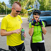 Mark Sinondi, left, and Patricia Peck, from Buffalo, cool off after completing two laps for a time trial Wednesday evening with the Bomber Mountain Cycling Club in Big Horn.