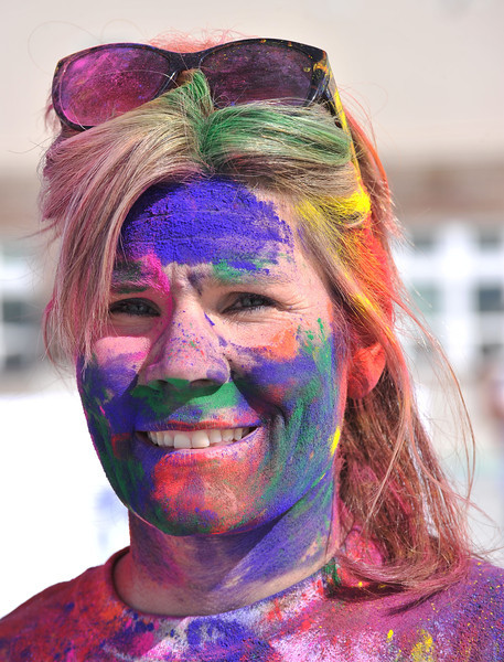 Leigh Gipe reveals the benefits of wearing sunglasses during the Combat Color fun run.
