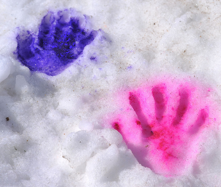 Colored handprints are imprinted in the snow during the Combat Color fun run on Sunday at the Sheridan College.