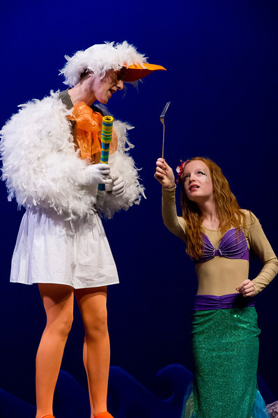 """Ariel, as played by Ellison Sweeney, left, shows a new human trinket to Flounder, played by Chloe Goode, during a dress rehearsal Tuesday for """"The Little Mermaid, Jr."""" at the WYO Theater. Performances of the show by Tandem Productions will show June 12 – 15 at 7:30 p.m. at the WYO Theater."""