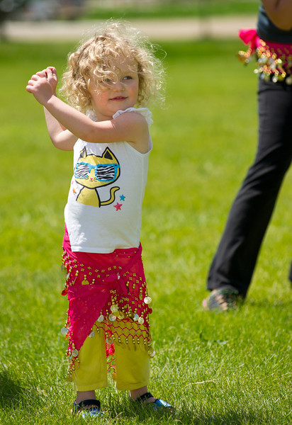 """Evann Johnson, 3, moves to the music during a Zumba community workout Wednesday at Washington Park. Parkfit offers free community workouts on Wednesdays and Fridays in the parks of Sheridan. The Parkfit schedule can be found at the Wellness Council of Sheridan County:  <a href=""""http://www.wellnesscouncilsc.org"""">http://www.wellnesscouncilsc.org</a>"""