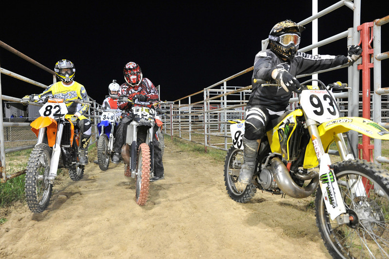 Local MX Riders get ready on deck before the race in Saturday's Monster Truck Show at the Sheridan County Fairgrounds.