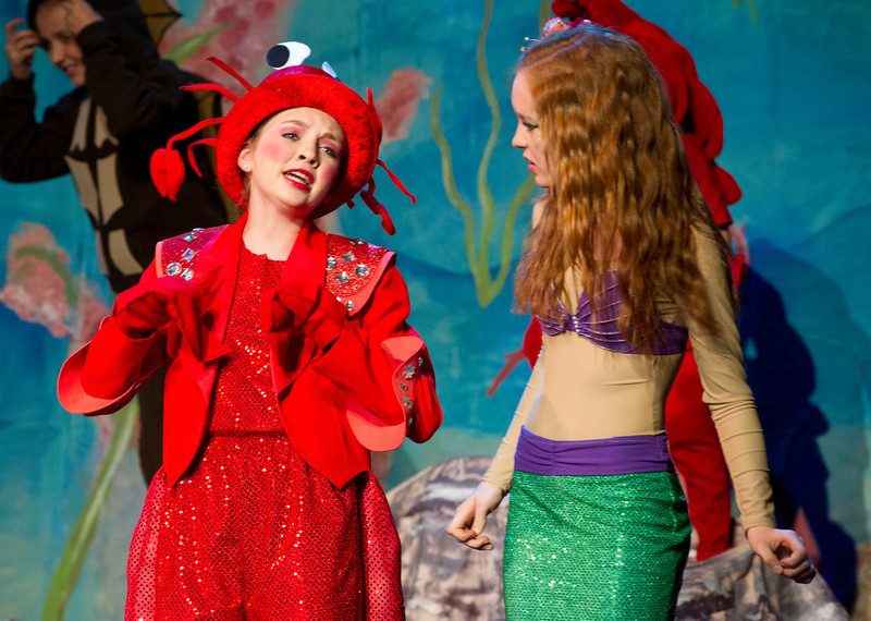 """Libby Heimbaugh, left, plays Sebastian during a song with Ariel, by Ellison Sweeney, during Tuesday's rehearsal for """"The Little Mermaid, Jr."""" by Tandem Productions at the WYO Theater."""