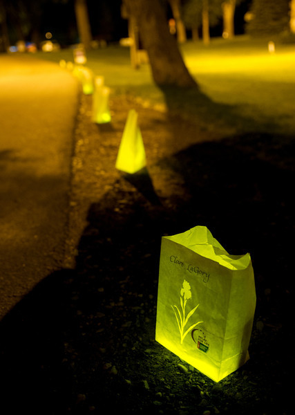 Luminaries with names and messages of hope mark the loop in Kendrick Park Friday night during Relay for Life.