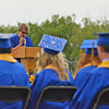 Principal Dirlene Wheeler makes opening statements during Sheridan High School graduation Sunday afternoon on Scott Field at the high school.