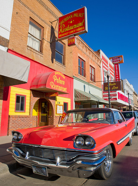 A vintage two-door 1957 DeSoto Firesweep is parked on Main Street Tuesday morning while owner Curt Crackenberger eats at the Sheridan Palace Restaurant.