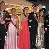 The Prom Court line up after the march Saturday evening at Big Horn High School.From left, Second Attendants Kaul Eisele and Savanna Pehringer, Prom Queen Gracie Goldhammer, Prom King Mathew Wigglesworth, and first Attendant Will O'Dell with his prom date Amelia Ponce on his right. Second Attendant Cashlee Cunningham was not present.