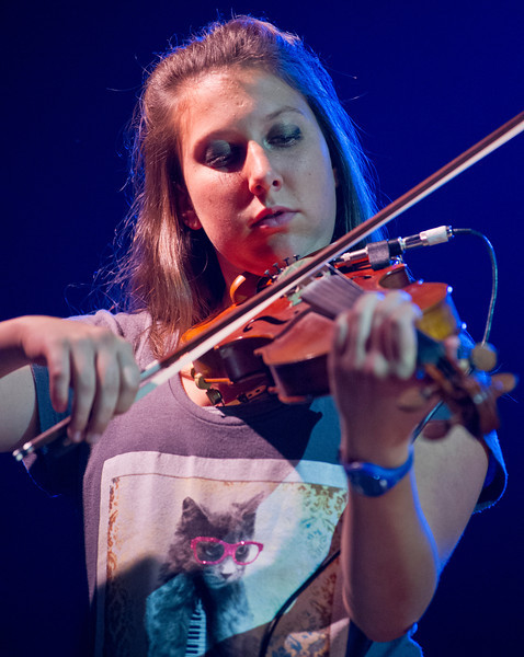 Sara Rodeck of Jackson Hole, Wyo., plays the violin during the Up with People rehearsal Friday in the Early Auditorium at the Sheridan Junior High School.