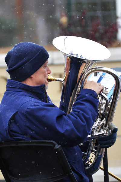 Jeff Prater plays the euphonium during the SC Veterans Day ceremony Monday morning at Sheridan College. (The Sheridan Press/Brad Estes)