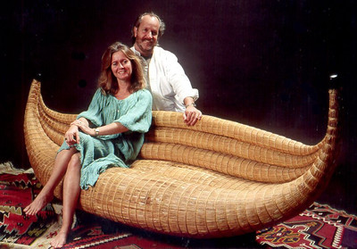 Marcel and Joyce Maison on one of the signature pieces made in Bolivia using the ancient traditional techniques originally used by the Incas for making their canoes on lake titicaca.
