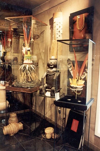 Amazonian headdress collection in the Artmosphere gallery showcased in custom made display cases. worth ave, 335 palm beach