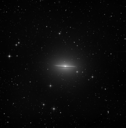 Sombrero, M104. 5hrs 30 min in 15 minute subs. Aspen CG16M on 20 inch PlaneWave. Notice (a) extremely large outer halo, consistent with it being that of an elliptical galaxy; (b) a tiny almost stellar nulceus. The large halo and tiny nucleus are often overlooked as a result of excessive contrast causing loss of the fainter parts of the halo and bloating and burn-out of the nucleus. We have tried to avoid excessive contrast for that reason.