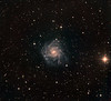 "NGC 7424, a starburst grand design spiral in Grus. With a surface brightness of only 15 mag/sq min, this is a faint target. The brilliant K class orange star at 3 o'clock is magnitude 6.7.  We call the galaxy ""Chopin"", on the grounds that the multiple spiral arms look like someone playing a frenetic arpeggio on the keyboard. There are many distant orange elliptical galaxies, often in clusters.<br /> <br /> Lum: 15hrs in 1hr subs. RGB: 3hrs each in half hour 2x2 binned subs. Aspen CG16M on 20"" PlaneWave. Field approx 35' across."