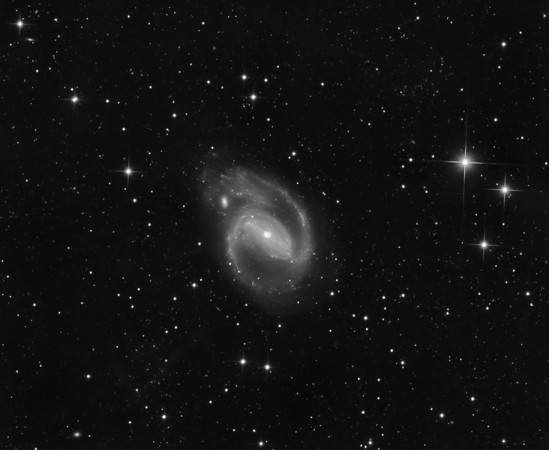"NGC 1097 in Fornax. Five things of interest. 1: a super-bright nucleus showing fine structure. 2: an impressive and well developed bar, with very fine dust lanes.. 3; Star formation in the two spirap arms coming from the ends of the bar. 4: A small satellite galaxy interacting with upper spiral. 5: Spectacularly, two super-faint, very lon, almost dead straight rays (composed of stars, not gas) heading toward 7 and 8 o'clock. These are believed to be tidal tails from interaction with yet smaller but destroyed companions, similar perhaps to our ""magellanic bridge"". Processing the image so that the core detail and these faint bridges were both visible was a challenge. Aspen 16M on PlaneWave 20 inch.  3hrs in 1hr unbinned subs."