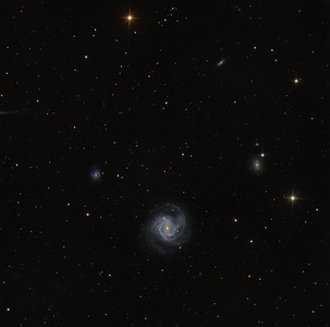 M61 (NGC 4303) a barred face-on spiral in the arms of Virgo. Toward 10 o'clock is blue NGC 4301 undergoing a strong burst of star formation. Toward 10 o'clock is the far more sedate NGC 4292, which may have interacted in the past with tiny NGC 4292a, to produce the observed double ring structure.  Aspen CG16M on 20 inch PlaneWave. Full image 36 min arc, north up, 0.55 sec arc/pixel. Lum 5 hrs, RGB 1.5 hrs each, in 30 min subs