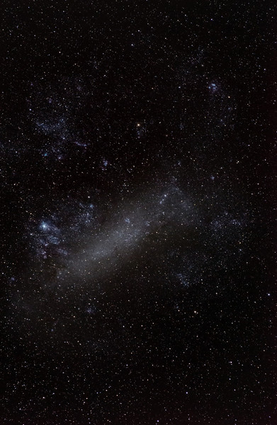 Greater Magellanic Cloud. 70 mm f5.6 lens on unmodified Nikon 7000 on EQ3 mount. 3 minutes total exposure. Trish took this shot while I was powering up the main dome. Shows you don't need a lot of kit to do astrophotography.